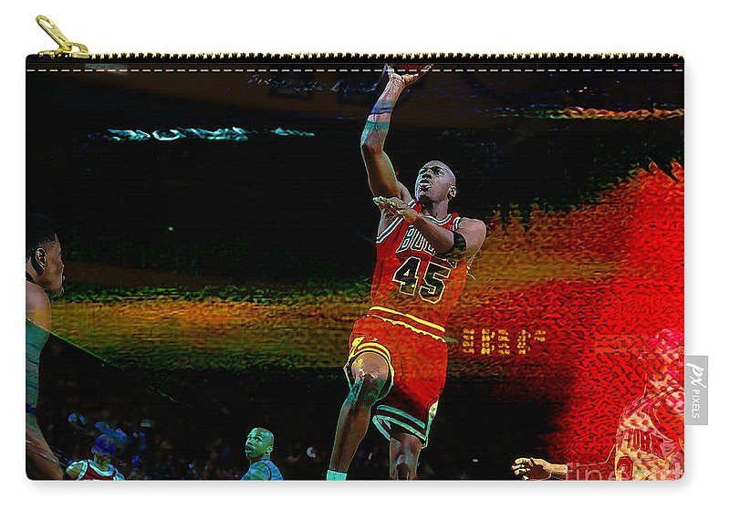 Michael Jordan Carry-all Pouch featuring the mixed media Michael Jordon by Marvin Blaine