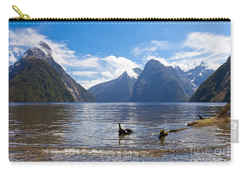 Mount Carry-all Pouch featuring the photograph Milford Sound And Mitre Peak In Fjordland Np Nz by Stephan Pietzko