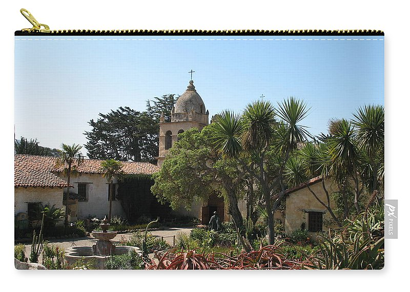 Mission Carry-all Pouch featuring the photograph Mission San Carlos Borromeo Del Rio Carmelo by Christiane Schulze Art And Photography