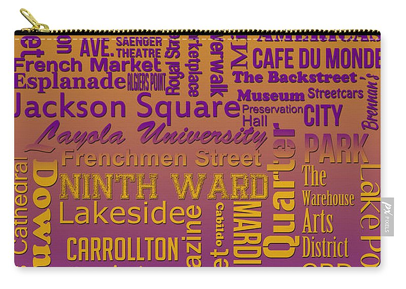 New Orleans Carry-all Pouch featuring the digital art New Orleans by Ryan Burton