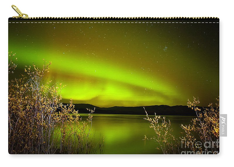 Above Carry-all Pouch featuring the photograph Northern Lights Mirrored On Lake by Stephan Pietzko