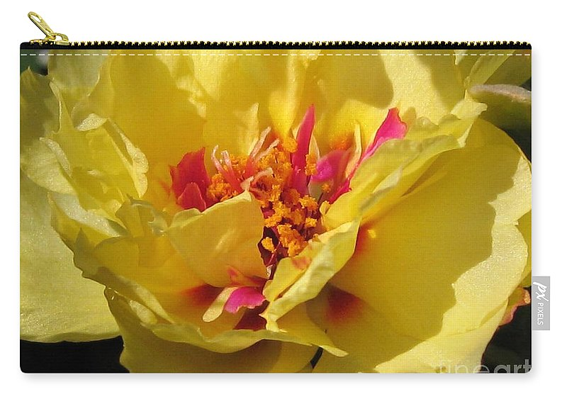 Mccombie Carry-all Pouch featuring the photograph Portulaca Named Happy Hour Banana by J McCombie