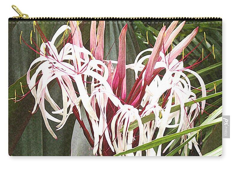 Queen Emma Crinum Lilies Carry-all Pouch featuring the painting Queen Emma Crinum Lilies by Ellen Henneke