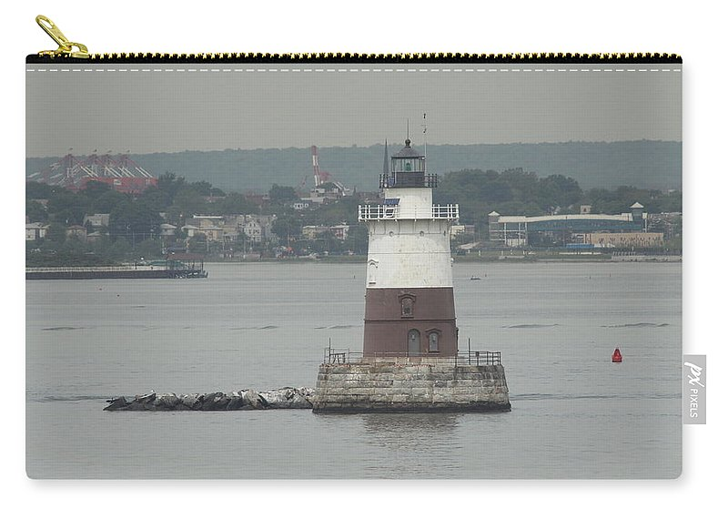Lighthouse Carry-all Pouch featuring the photograph Robbins Reef Lighthouse by Christiane Schulze Art And Photography