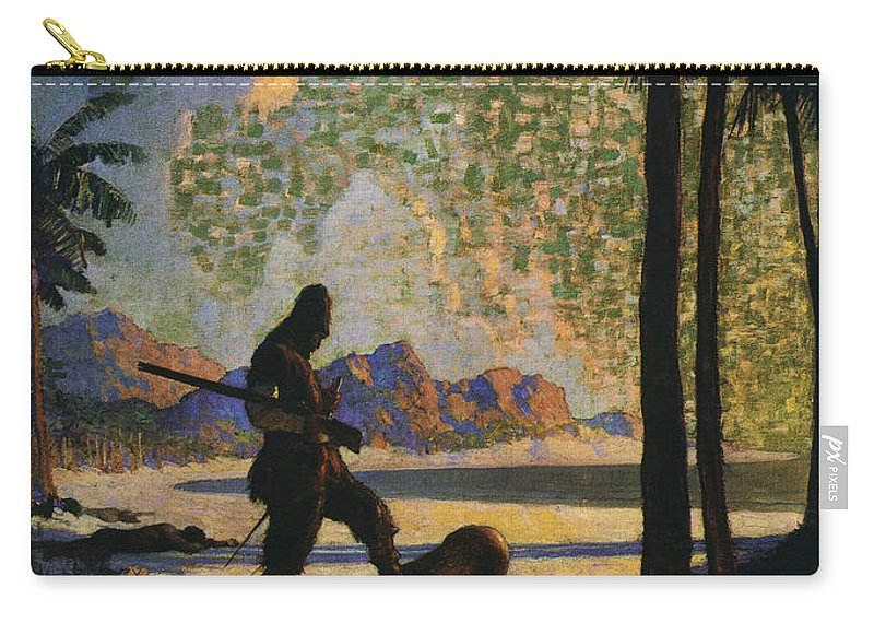 1920 Carry-all Pouch featuring the photograph Robinson Crusoe, 1920 by Granger