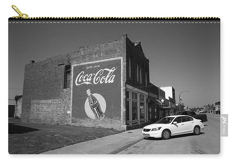 66 Carry-all Pouch featuring the photograph Route 66 - Coca Cola Ghost Mural by Frank Romeo
