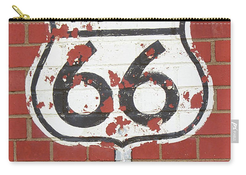 66 Carry-all Pouch featuring the photograph Route 66 Shield by Frank Romeo