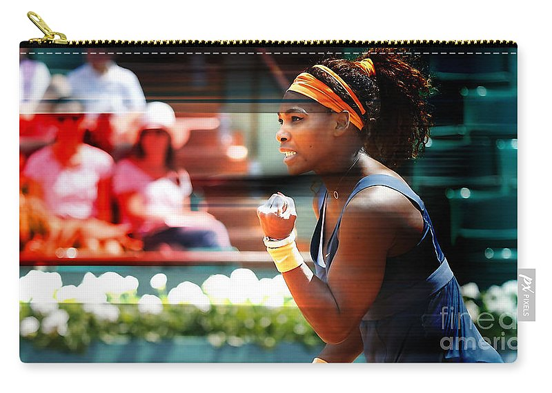 Serena Williams Drawings Carry-all Pouch featuring the mixed media Serena Williams by Marvin Blaine