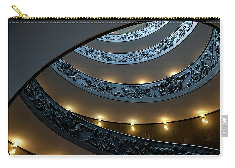 Italian Culture Carry-all Pouch featuring the photograph Spiral Staircase At The Vatican by Mitch Diamond