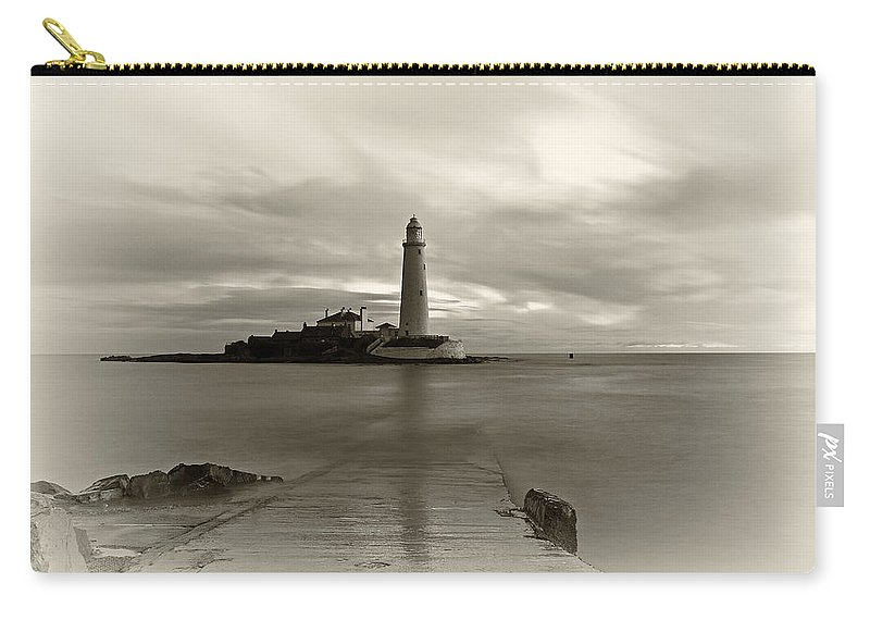 St Marys Carry-all Pouch featuring the photograph St Marys Lighthouse by David Pringle