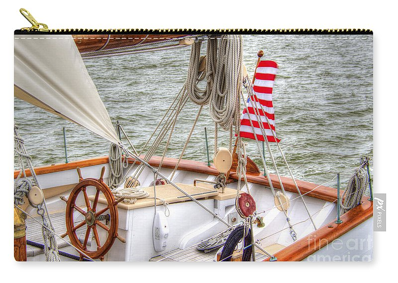 Tall Ships Carry-all Pouch featuring the photograph At The Helm by Dale Powell