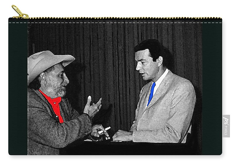 Ted Degrazia Dick Mayers Kvoa Tv Studio Polaroid By News Director Garry Greenberg January1966 Color Added Tucson Arizona Carry-all Pouch featuring the photograph Ted Degrazia Dick Mayers Kvoa Tv Studio Polaroid By News Director Garry Greenberg January 1966 by David Lee Guss