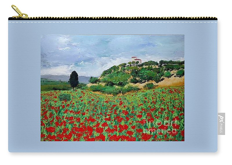 Landscape Carry-all Pouch featuring the painting Tuscan Poppies by Allan P Friedlander