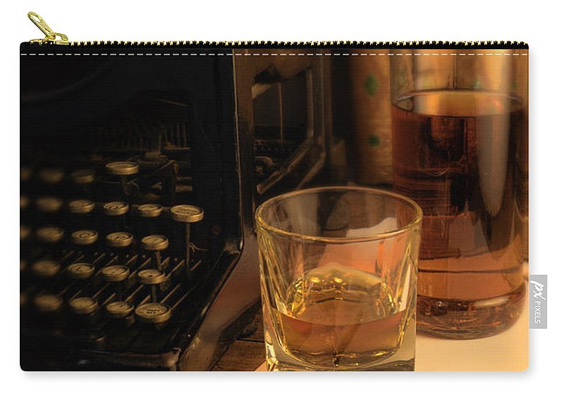 Antique Typewriter Carry-all Pouch featuring the photograph Typewriter And Whiskey by Jill Battaglia