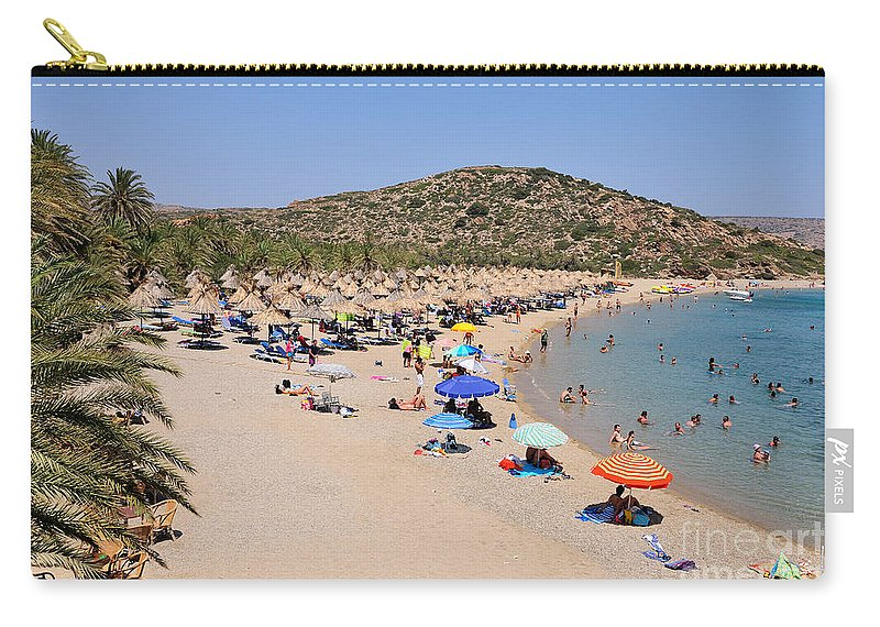 Vai; Lasithi; Lassithi; Beach; Crete; Palms; Trees; Forest; Sand; Kriti; Greece; Hellas; Greek; Hellenic; People; Tourists; Swim; Swimming; Island; Sunbathing; Suntanning; Suntan; Tanning; Relaxing; Relaxation; Sea; Islands; Holidays; Vacation; Travel; Trip; Voyage; Journey; Tourism; Touristic; Summer; Umbrellas; Parasols; Sunshades; Sun Beds; Sea Beds; Blue; Sky Carry-all Pouch featuring the photograph Vai Beach by George Atsametakis