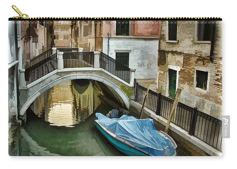 Venice Canal Carry-all Pouch featuring the photograph Venice Canal by Jon Berghoff