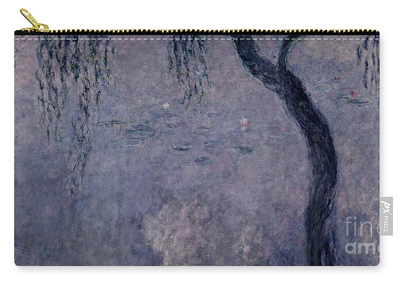 Impressionist Carry-all Pouch featuring the painting Waterlilies Two Weeping Willows by Claude Monet
