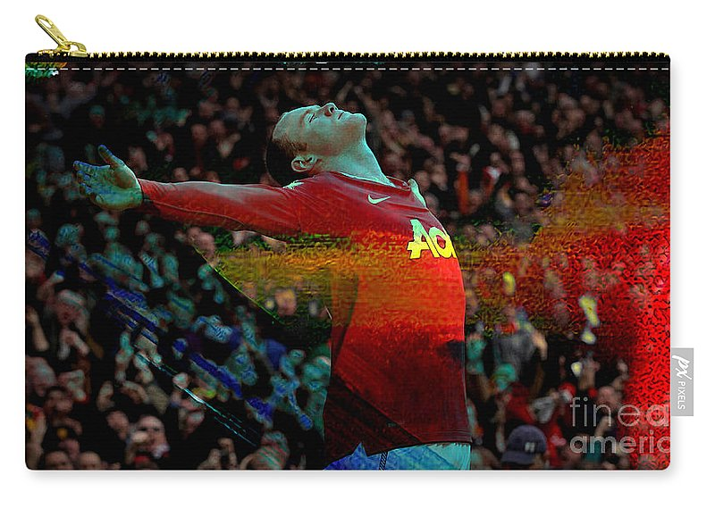 Wayne Rooney Paintings Carry-all Pouch featuring the mixed media Wayne Rooney by Marvin Blaine