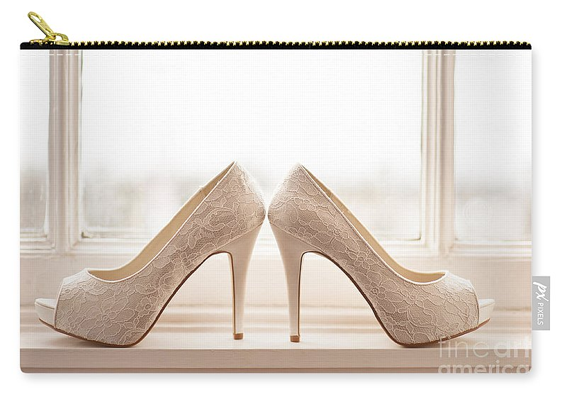 Wedding Carry-all Pouch featuring the photograph Wedding Shoes by Lee Avison