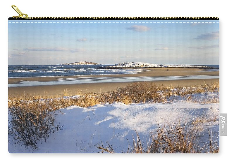 Popham Beach Carry-all Pouch featuring the photograph Winter At Popham Beach State Park Maine by Keith Webber Jr