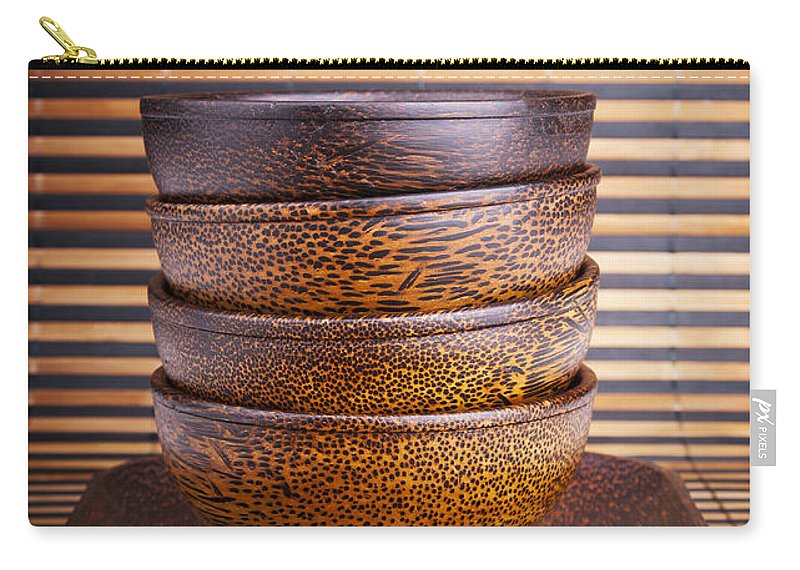 Bowl Carry-all Pouch featuring the photograph Wooden Bowls by Tim Hester