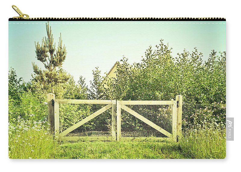 Access Carry-all Pouch featuring the photograph Wooden Gate by Tom Gowanlock