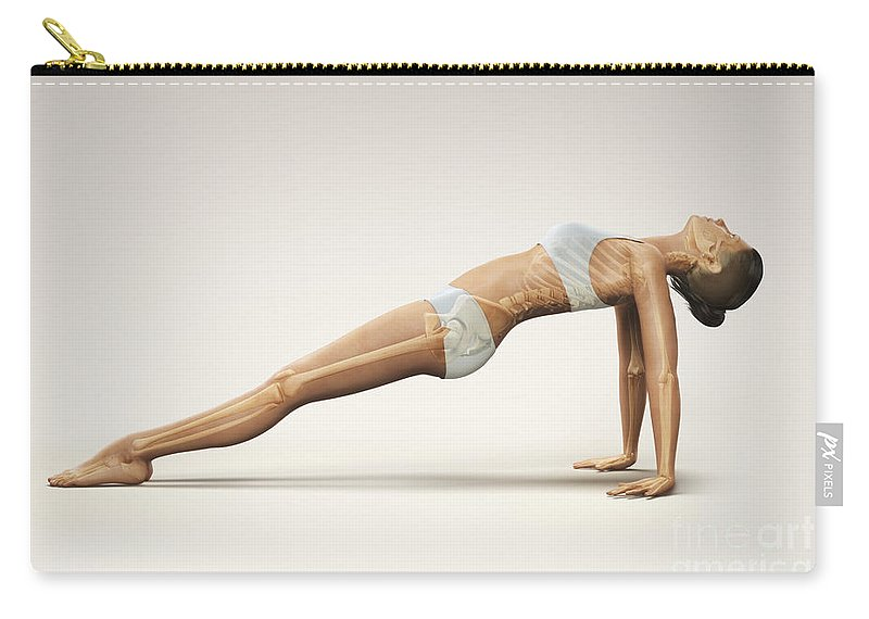 Digitally Generated Image Carry-all Pouch featuring the photograph Yoga Upward Plank Pose by Science Picture Co