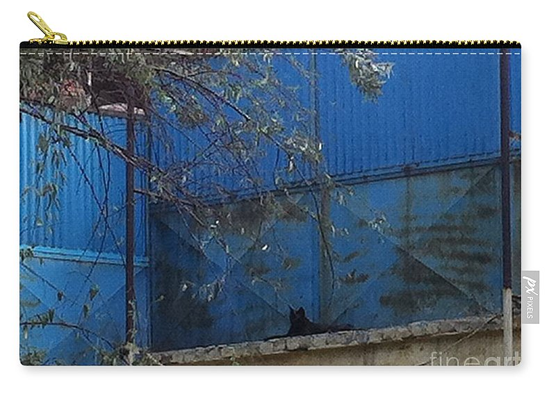 Blue Carry-all Pouch featuring the photograph Untitled by Fareeha Khawaja
