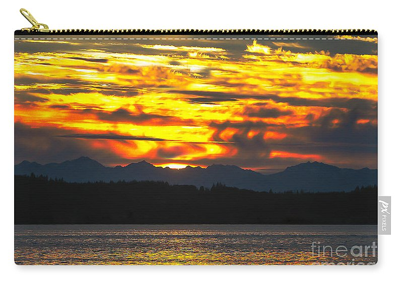 Golden Carry-all Pouch featuring the photograph 333 Marine Sunrise by Robert Bales