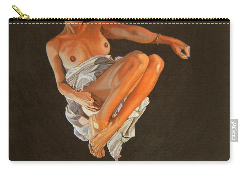 Semi-nude Carry-all Pouch featuring the painting 4 30 Am by Thu Nguyen