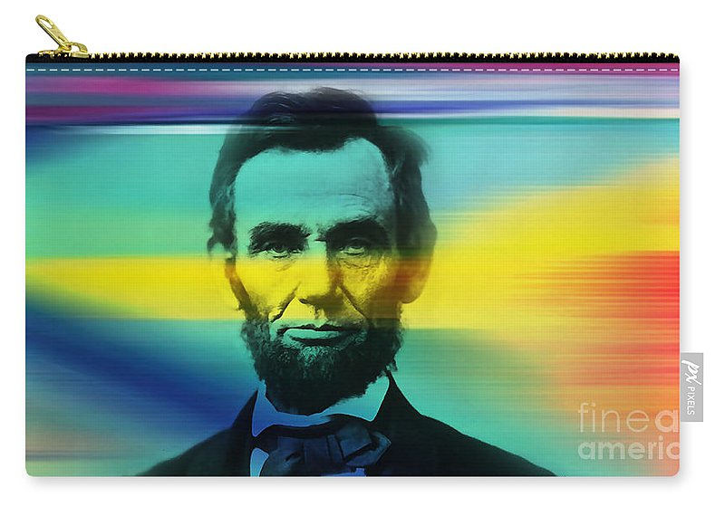Abraham Lincoln Photographs Mixed Media Carry-all Pouch featuring the mixed media Abraham Lincoln by Marvin Blaine