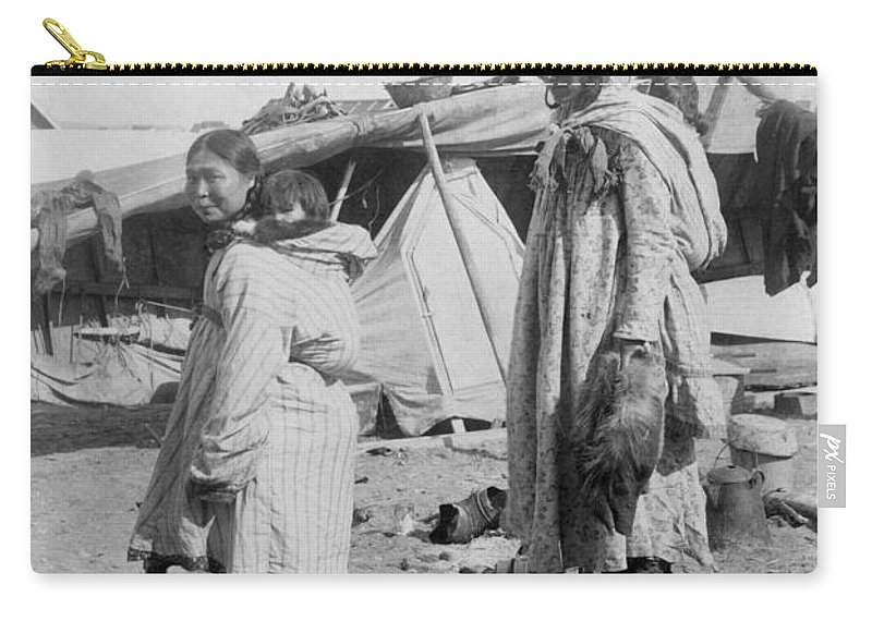 1916 Carry-all Pouch featuring the photograph Alaska Eskimos, C1916 by Granger