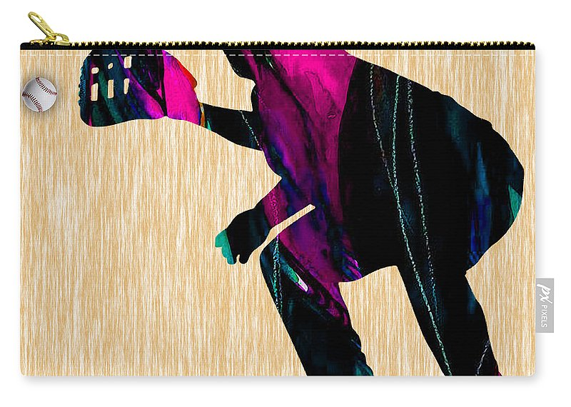 Baseball Carry-all Pouch featuring the mixed media Baseball Catcher by Marvin Blaine