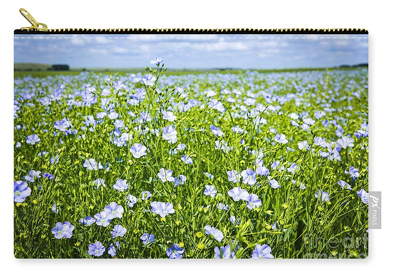 Flax Carry-all Pouch featuring the photograph Blooming Flax Field by Elena Elisseeva