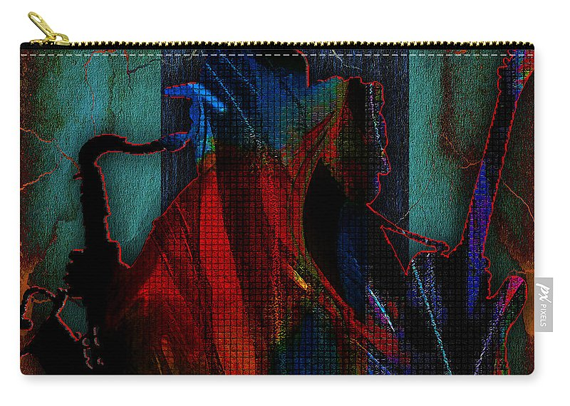 Bruce Springsteen Art Carry-all Pouch featuring the mixed media Bruce Springsteen and Clarence Clemons by Marvin Blaine