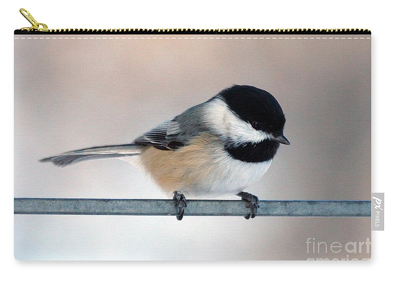 Chickadee Carry-all Pouch featuring the photograph Chickadee by Lori Tordsen