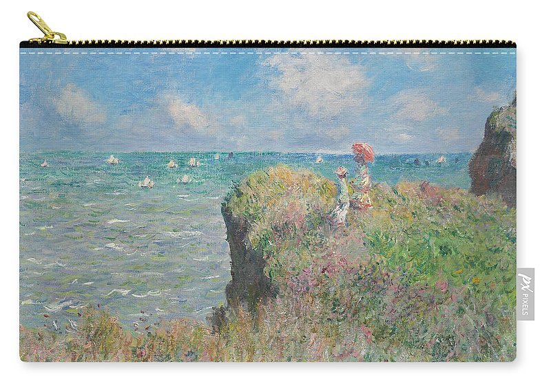 Claude Monet Carry-all Pouch featuring the painting Cliff Walk At Pourville by Claude Monet