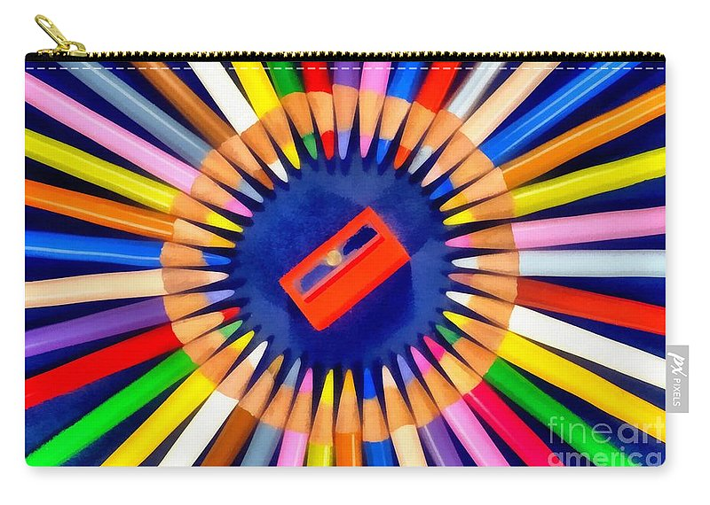 Pencil Carry-all Pouch featuring the painting Colorful Pencils by George Atsametakis