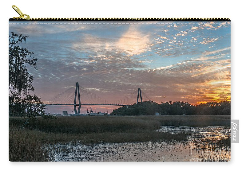 Sunset Carry-all Pouch featuring the photograph Charleston Cooper River Bridge by Dale Powell