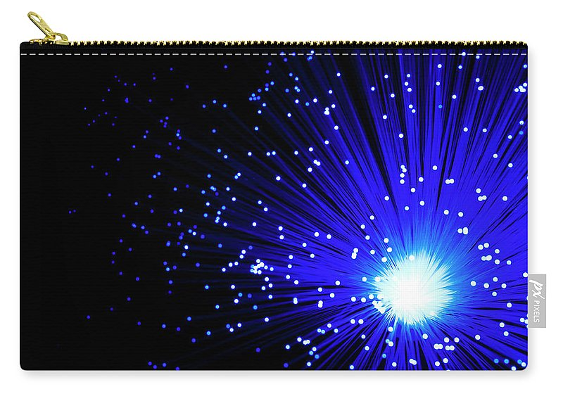 Black Background Carry-all Pouch featuring the photograph Fiber Optics On Black Background by Level1studio