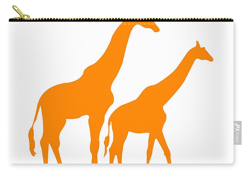Graphic Art Carry-all Pouch featuring the digital art Giraffe In Orange And White by Jackie Farnsworth