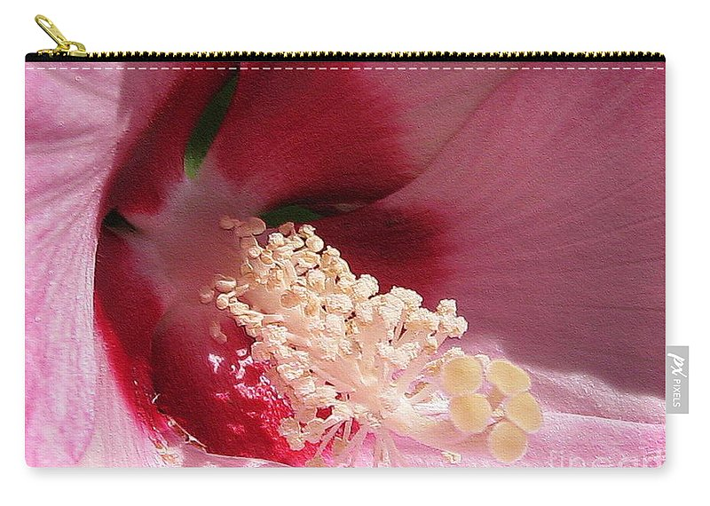 Hibiscus Moscheutos Carry-all Pouch featuring the digital art Hibiscus Moscheutos Named Luna Pink Swirl by J McCombie