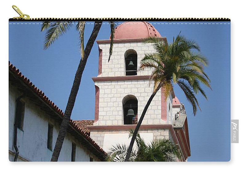 Mission Carry-all Pouch featuring the photograph Old Mission Santa Barbara by Christiane Schulze Art And Photography