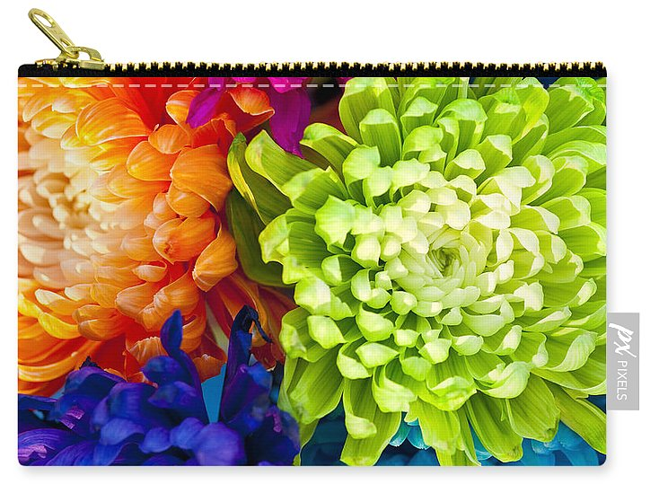 Blossom Carry-all Pouch featuring the photograph Multicolored Chrysanthemums by Jim Corwin