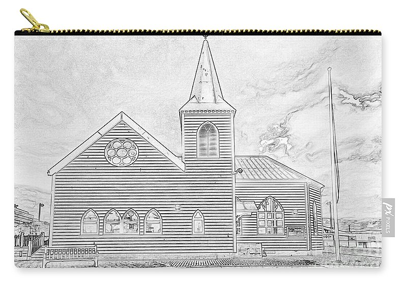 Cardiff Bay Carry-all Pouch featuring the photograph Norwegian Church Cardiff Bay by Steve Purnell