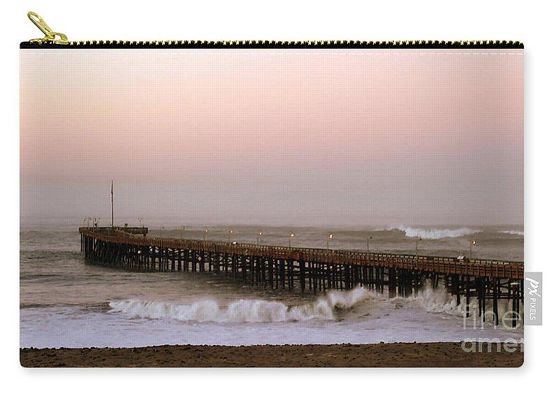 Sunrise Carry-all Pouch featuring the photograph Ocean Wave Storm Pier by Henrik Lehnerer