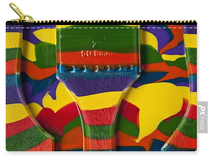 Abstract Carry-all Pouch featuring the photograph Paint Brushes Camouflaged by Jim Corwin