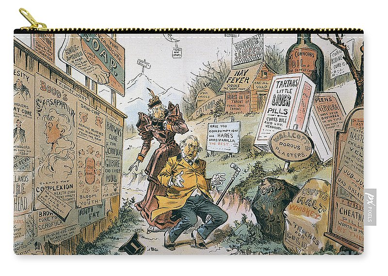1893 Carry-all Pouch featuring the photograph Patent Medicine Cartoon by Granger