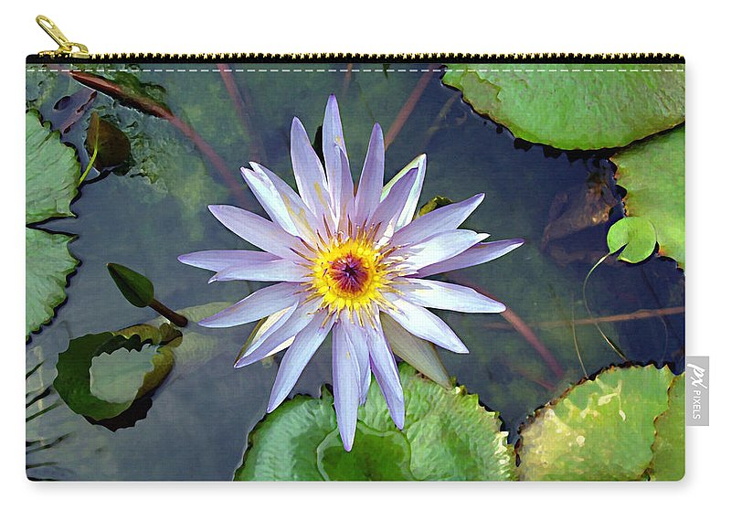 Purple Lotus Carry-all Pouch featuring the painting Purple Lotus by Ellen Henneke