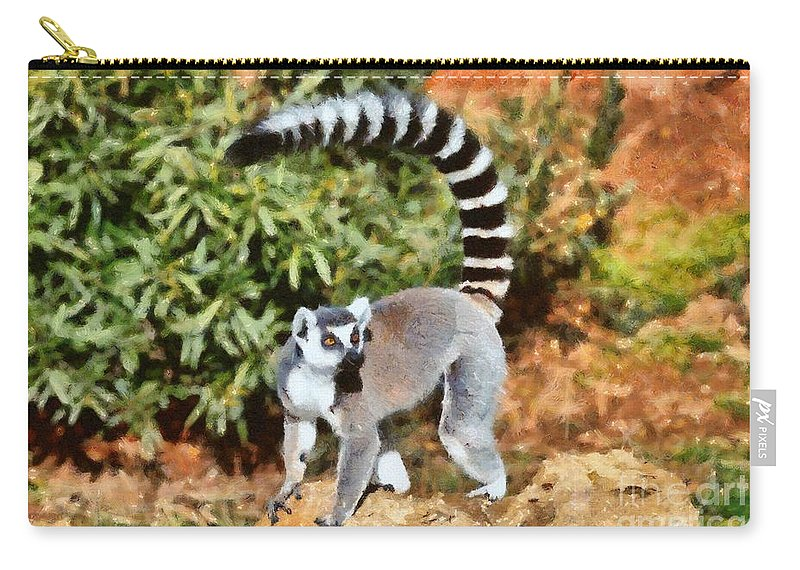 Ring Tailed Lemur Carry-all Pouch featuring the painting Ring Tailed Lemur by George Atsametakis